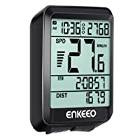 ENKEEO Wired Bike Computer with Current/AVG/MAX Speed Tracking Speedometer, Trip Time/Distance Recording Odometer for Cycling