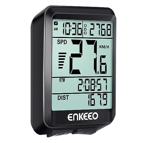 Enkeeo Ordinateur Compteur de Véloavez Actuelle / Moyenne / Maximale vitesse Speed Tracking Speedometer, Temps de Voyage / Distance pour le Cyclisme