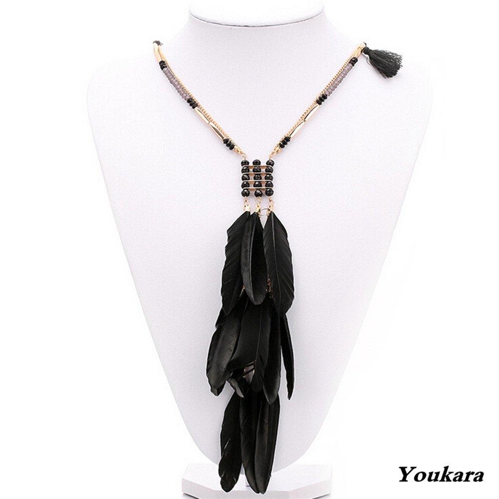 Youkara collana per donne e ragazze stile Bohemien piuma collana etnico intrecciato a mano