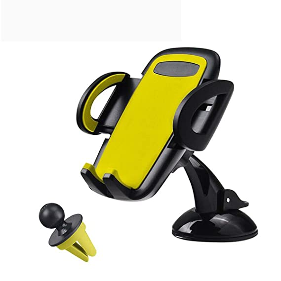 Yellow Universal Mobile Phone//GPS Air Vent 360 Degree Car Mount Cradle Holder ;x