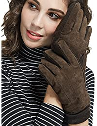 Mens&Womens Black Winter Gloves Suede Leather Knit Cuff with Thick Fleece Lining