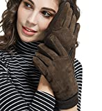 LETHMIK Thick Suede Leather Gloves Womens Winter Warm Fleece Lined with Long Knit Cuff Brown