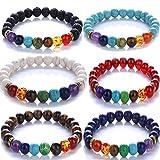 Yunanwa 6 Pack Set Men Women 8mm Lava Rock 7 Chakras Beads Bracelet Yoga Bangle Couple Lover Friendship