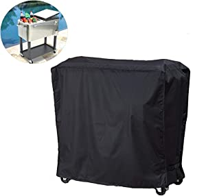 J&C 35x20x34in Cooler Cart Cover-Black Waterproof UV Resistant Patio Rolling Cooler for Most of 80 QT Patio Ice Chest Party Bar and Outdoors Rolling Cooler with Wheels