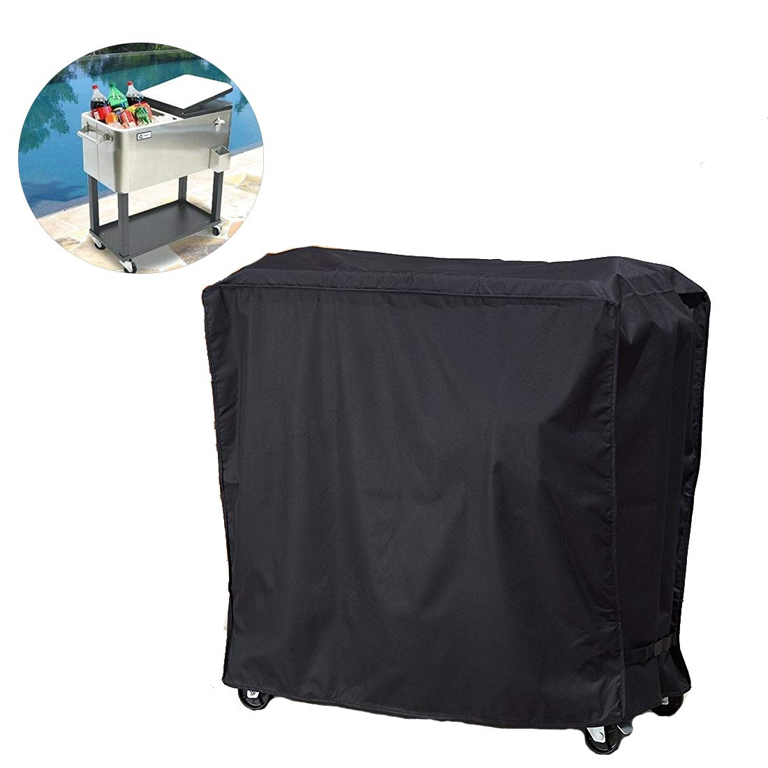 J&C 35x20x34in Cooler Cart Cover-Black Waterproof UV Resistant Patio Rolling Cooler for Most of 80 QT Patio Ice Chest Party Bar and Outdoors Rolling Cooler with Wheels by J&C