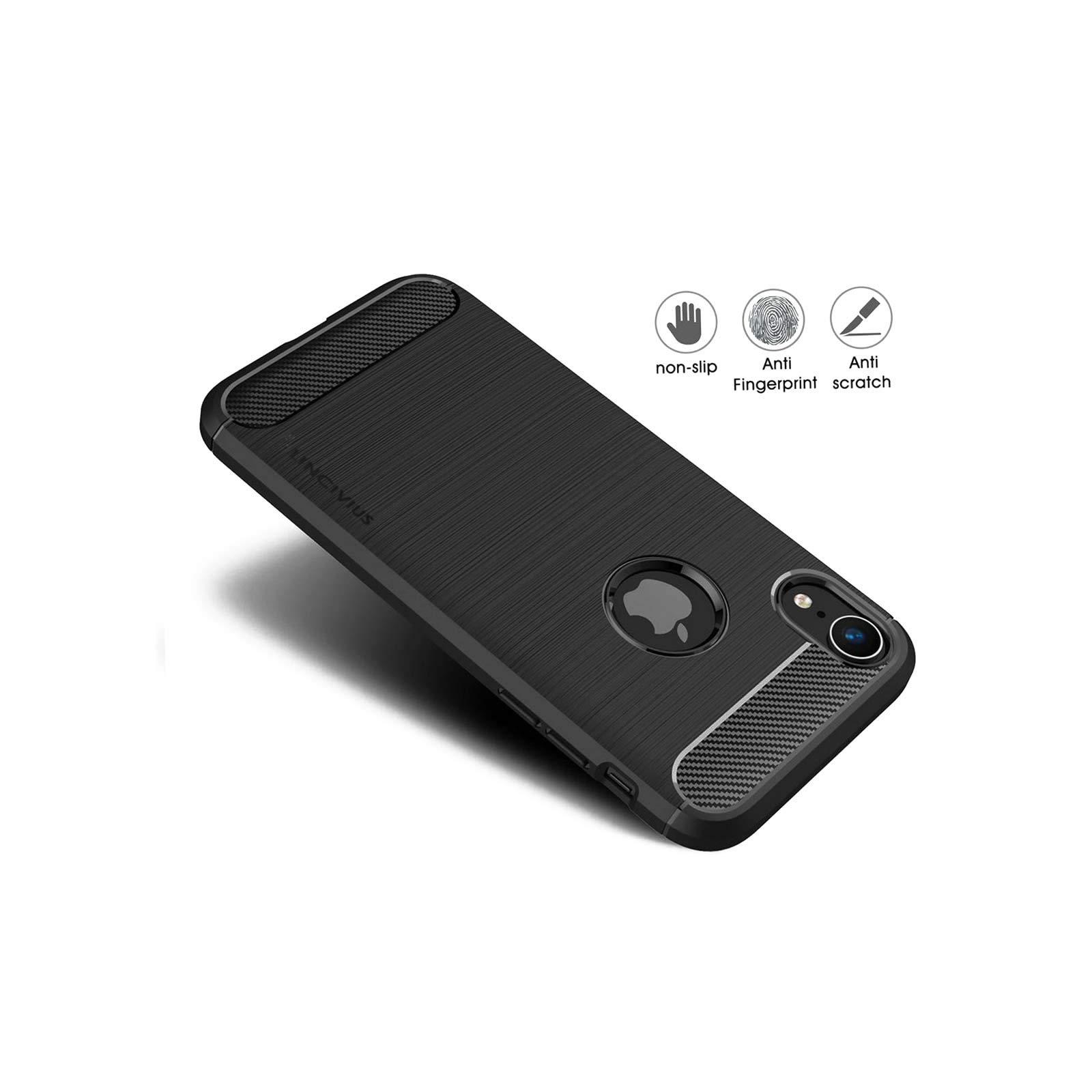 LINCIVIUS  Coque Apple iPhone XR [TPU Brushed Carbone] Protection Coque Carbon iphone XR Housse Etui Accessoires Silicone Souple Hybride Design Anti Choc