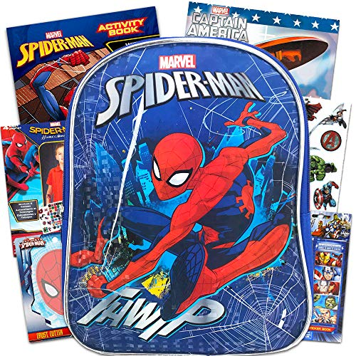 """Marvel Spiderman Backpack Set Toddler Preschool -- 11"""" Mini Spiderman Backpack with Super Hero Coloring Books, Stickers, Temporary Tattoos and More (Travel Activities Pack for Toddlers Kids)"""