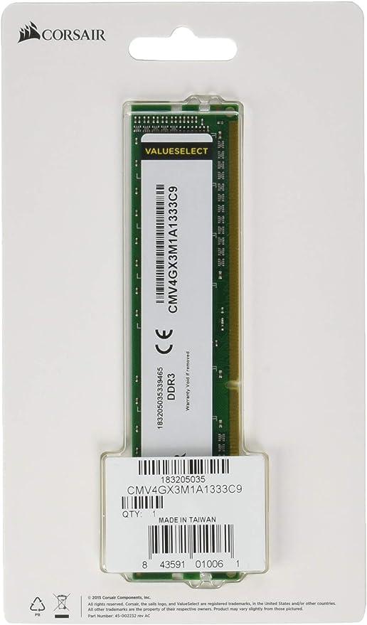 Corsair Cmv4gx3m1a1333c9 Value Select 4gb Ddr3 1333 Computer Zubehör
