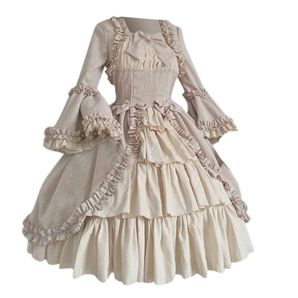 WUAI-Women Gothic Dress, Gothic Cosplay Dress Vintage Renaissance Dress Halloween Lolita Witch Dress(Pink,Large