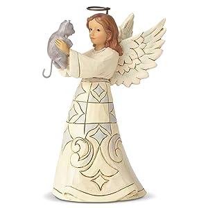 Enesco Jim Shore Heartwood Creek White Woodland Farmhouse Angel and Cat Figurine, 5.2 Inch, Multicolor