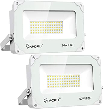 Onforu 60W Foco LED Exterior (2 Pack), 6000LM Super Potente ...