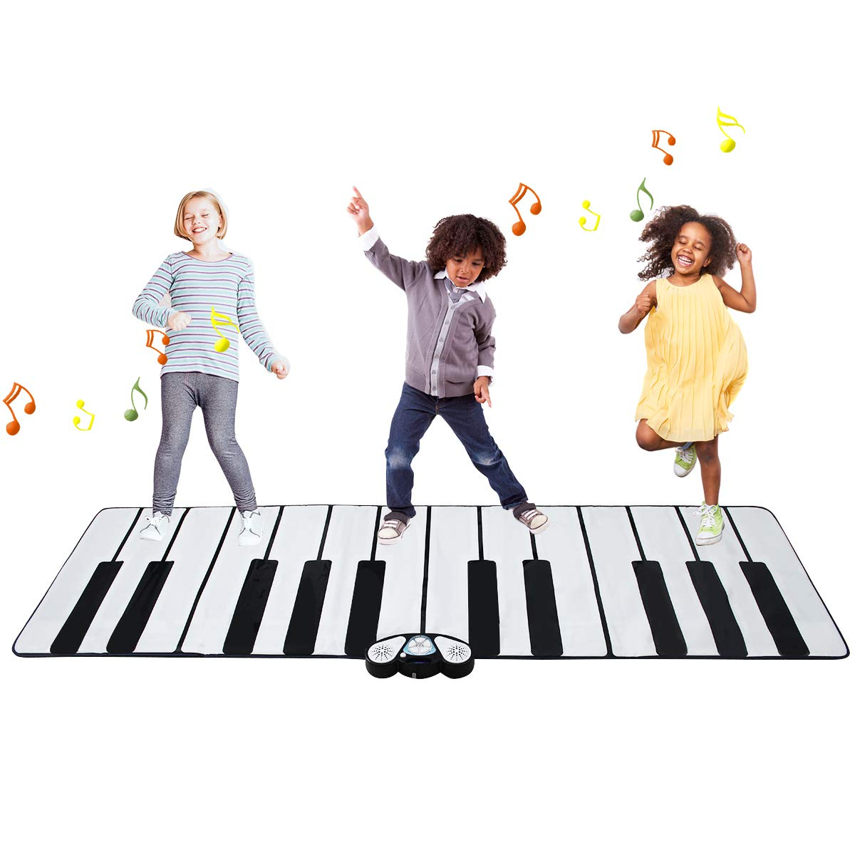 Costzon Giant Keyboard Playmat, 24 Keys Piano Play Mat, Foldable Activity Mat w/ 9 Selectable Musical Instruments, Play - Record - Playback - Demo - Tone Conversion Modes, Support MP3, Phone Play
