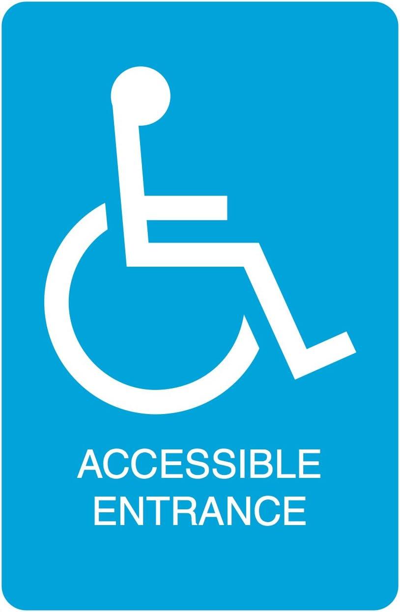 Blue Handicap Symbol Accessible Entrance Print Parking Car Lot Business Office Sign
