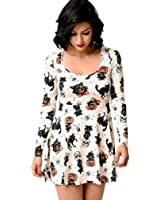 Mini Dress,Goddessvan Womens Sexy Halloween Pumpkin Fox Print Dress Ladies Long Sleeve Party Dress