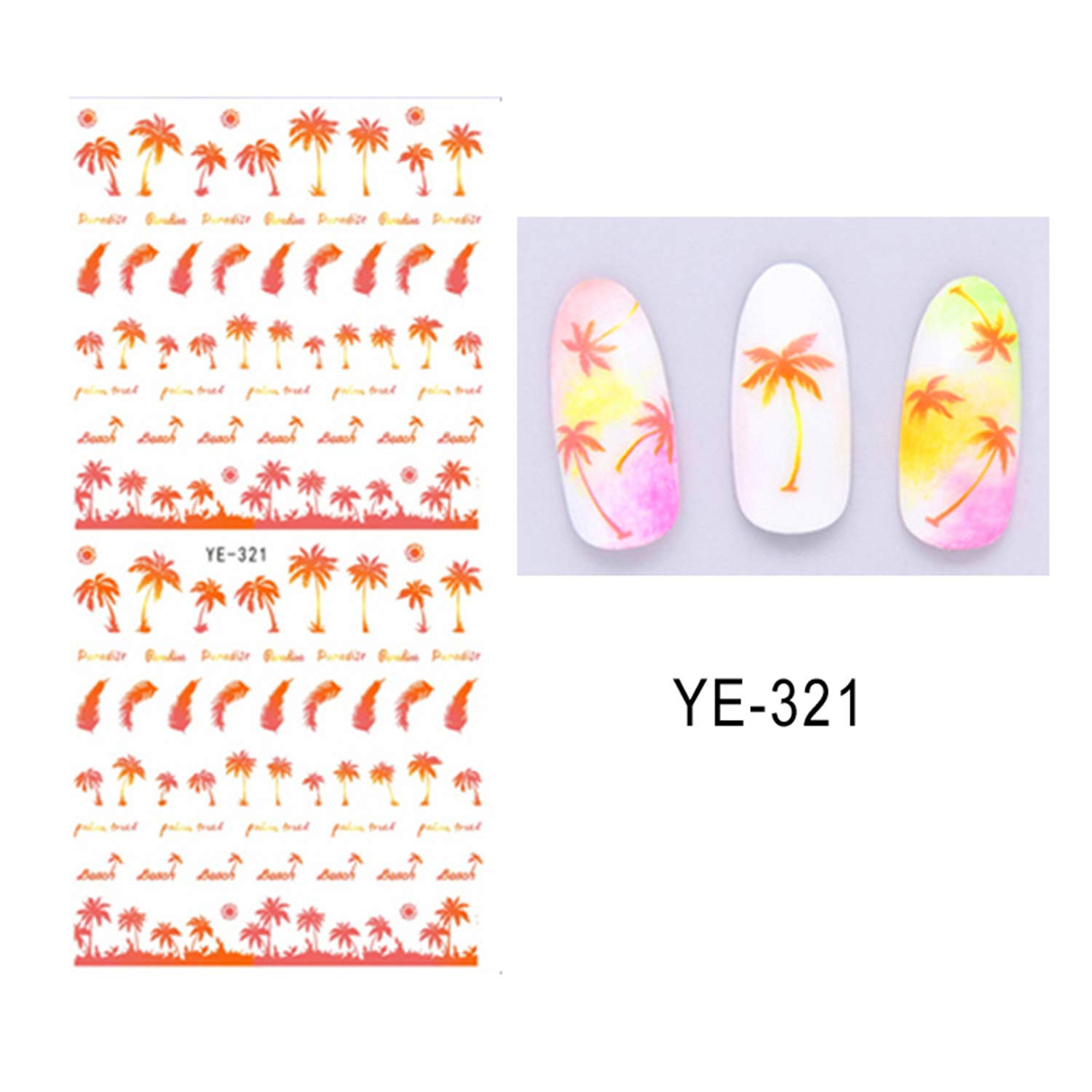 Coconut Trees Nail Water Decals Summer Anchors Style Transfer Stickers Black Feather Leaves Nail Art Stickers YE323 China