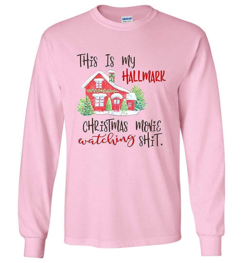 Amazon.com: This is My Hallmark Christmas Watching Shirt Funny Long ...