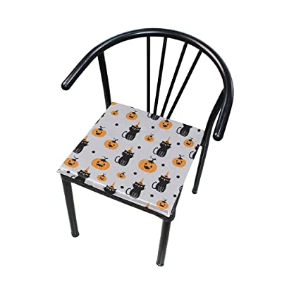 """Bardic HNTGHX Outdoor/Indoor Chair Cushion Pumpkin Cat Square Memory Foam Seat Pads Cushion for Patio Dining, 16"""" x 16"""": Home & Kitchen"""