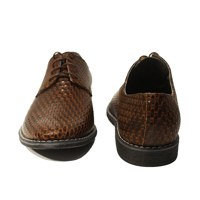 Modello Michele - 45 EU - Cuero Italiano Hecho A Mano Hombre Piel Marrón Zapatos Vestir Oxfords - Cuero Cuero Repujado - Encaje 2FHAW5