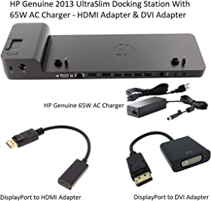 HP Genuine 2013 UltraSlim Docking Station With 65W AC Charger - HDMI - DVI - VGA - DisplayPort- D9Y32 - D9Y32AA#ABA (Renewed)