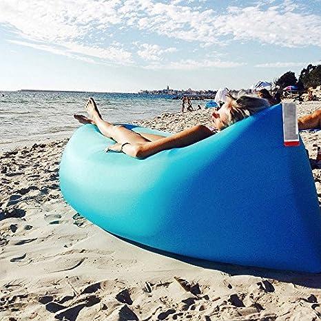 Lettino Gonfiabile Spiaggia.Takestop Air Bag Lettino Gonfiabile Hangout Air Sacco A Pelo A Compressione Divano Sedia Materassino Spiaggia Mare Banana Sleeping Bag Colore Casuale