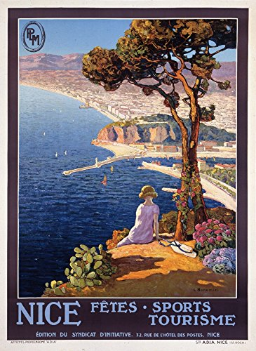 France - Nice - PLM - (artist: Bonamici) - Vintage Advertisement (12x18 Art Print, Wall Decor Travel Poster) - Nice Vintage Art
