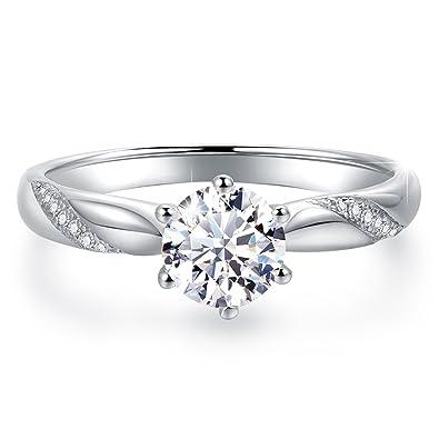 Amazon.com: Impresionante anillo de compromiso de circonita ...