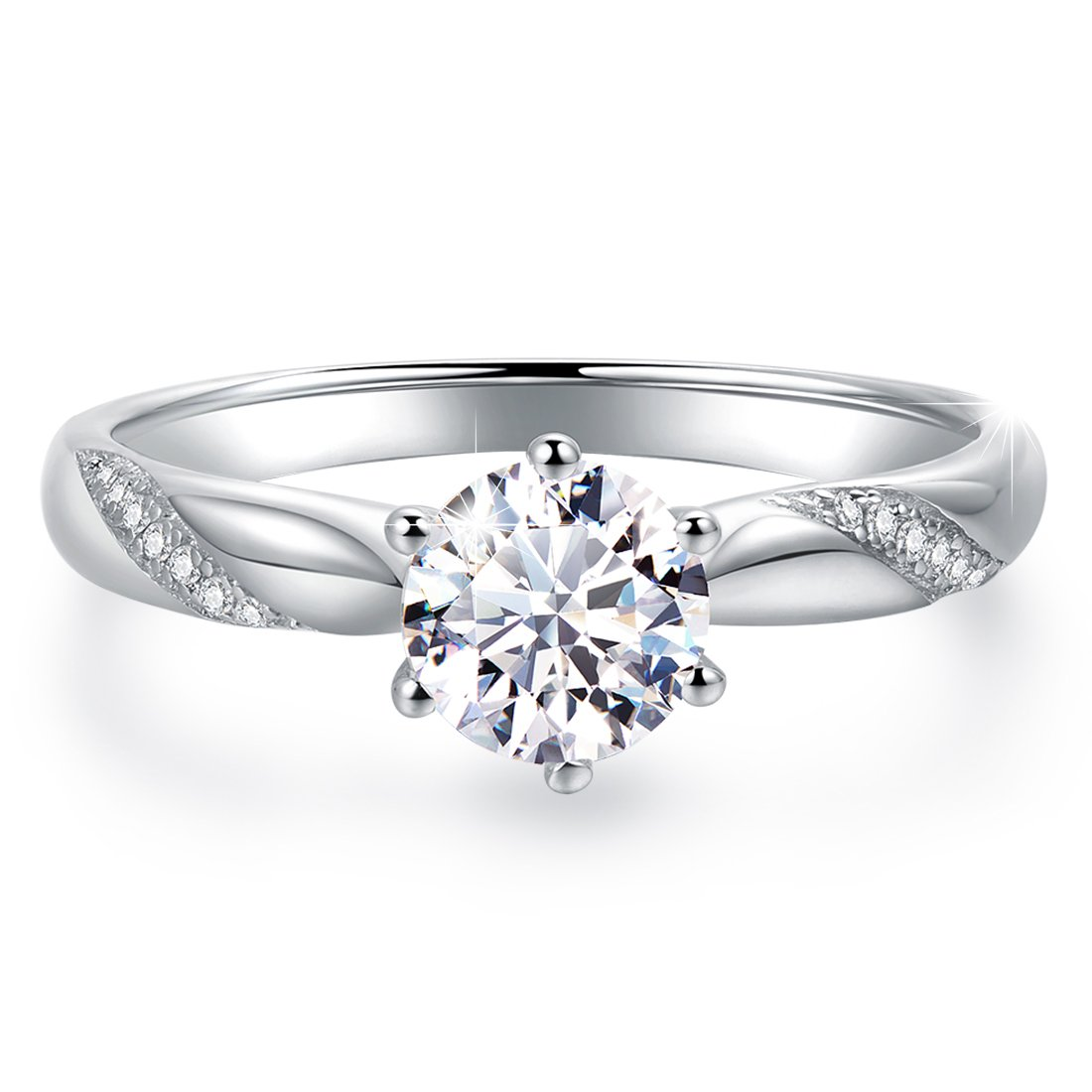 Stunning Flame Solitaire Engagement Ring White Gold Plated Sterling Silver Cubic Zirconia Wedding for Women | Excellent Cut D Color FL Clarity & Exquisite Polish
