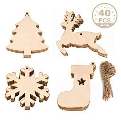 Wooden Christmas Ornaments Diy Round Unfinished Wood Discs To Paint For Rustic Christmas Hanging Decoration Great For Arts And Crafts 4shapes