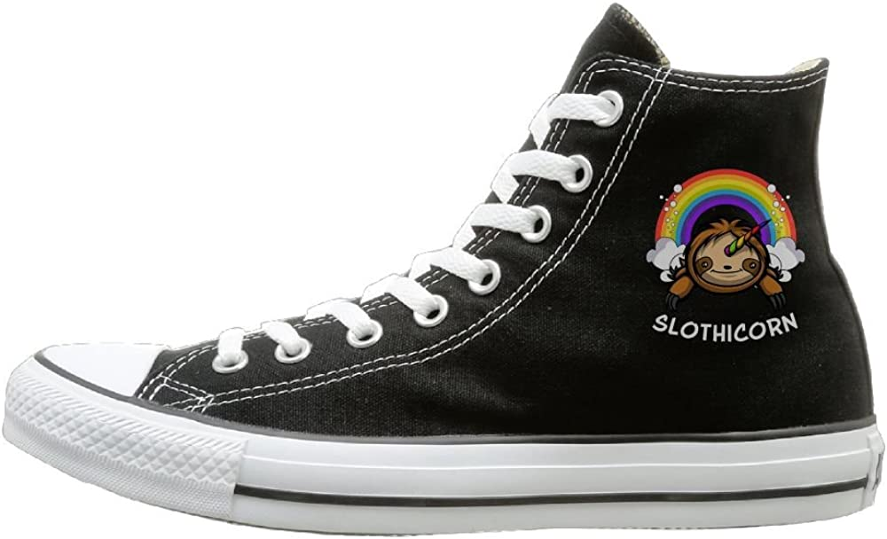 Sakanpo Slothicorn Magical Canvas Shoes High Top Design Black Sneakers Unisex Style