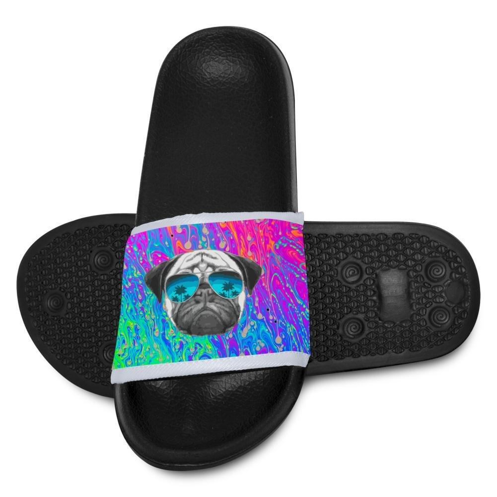 Kids Pug Wearing Sunglasses Slippers Summer Beach Sandals for Boys Girls