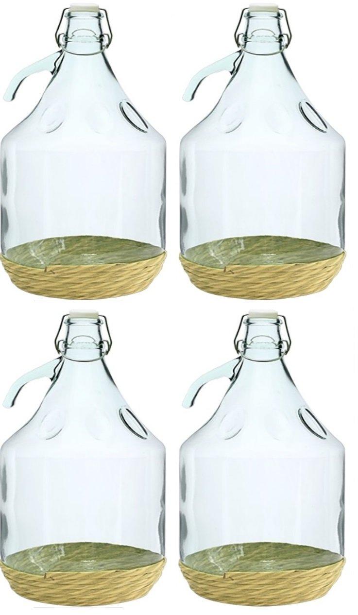 4 x Globo de cristal gärballon Cristal Botella de vino globo globo 5L cierre de clip bdo5d: Amazon.es: Hogar