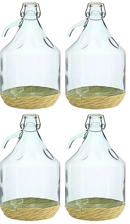 4 x Globo de cristal gärballon Cristal Botella de vino globo globo 5L cierre de clip