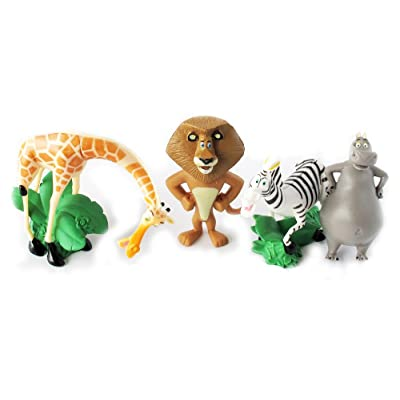 "Set of 4 Madagscar 3"" to 4"" Figures Featuring Gloria the Hippo, Alex the Lion, Marty the Zebra, and Melman the Hypochondriac Giraffe: Toys & Games"