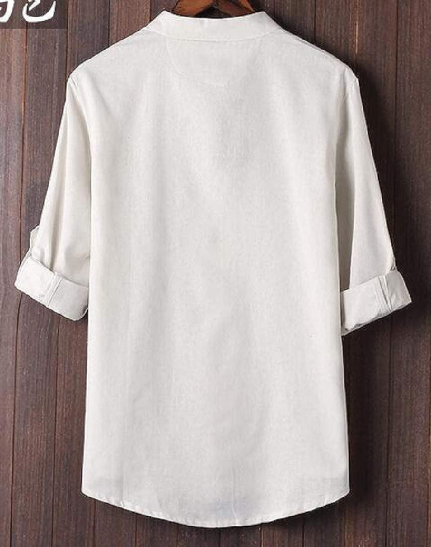 HANA+DORA Men Linen Cotton Slim Fit Roll-Up Sleeve Frog-Button Shirt