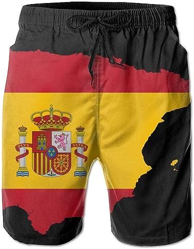 Mapa de España Pantalones Cortos de Playa para Hombres de Verano Troncos de baño Pantalones para el hogar con Bolsillos Bañadores de Secado rápido, Tamaño L: Amazon.es: Ropa y accesorios