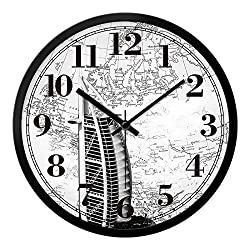 FortuneVin Wall Clock Silent movement Wall Clock Home Office Decor for Living Room Bedroom and Kitchen Clock Wall Digital World Time Zone Quartz 14 Inch And 33