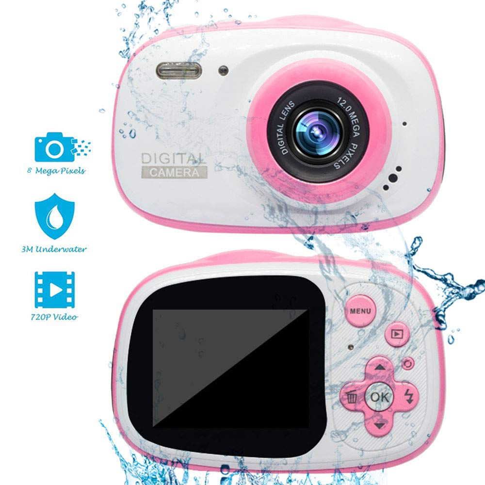 Kids Digital Camera - 1080P HD Waterproof Mini Rechargeable Digital Front and Rear Selfie Camcorder for Children Gifts Educational Toys,Pink