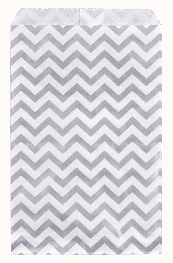 """200 pcs Chevron Paper Gift Bags Shopping Sales Tote Bags 6"""" x 9"""" Shimmering Silver with Caddy Bay Collection Microfiber Cleaning Cloth"""