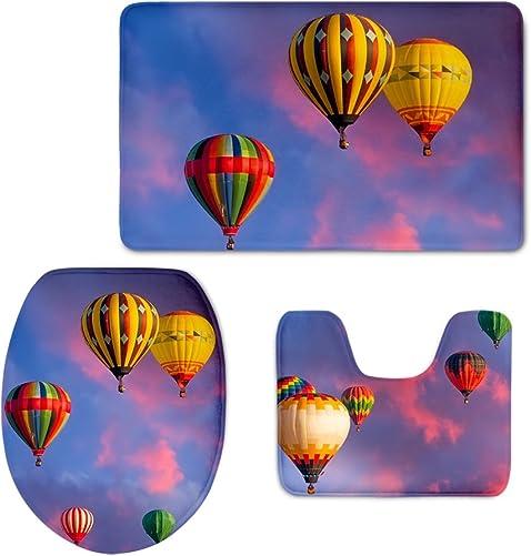 3Pcs Bath Mat Set,Sunset,Hot Air Balloon Bathroom Carpet Rug,Non-Slip Backing Bathroom Mat CHAQLIN