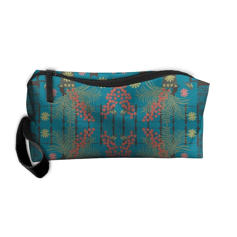 Spring Gardening On Blue Cosmetic Bag - MakeUp Organizer - Lightweight Toiletry Travel Bag
