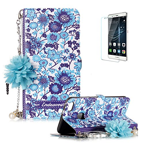 Huawei P10 Lite Case Funyye Fashion  Portable Chain  Phone Case Elegant Floral Lady Handbag Design Folio Pu Leather Wallet Book Type Shockproof Protection Case For Huawei P10 Lite Blue White