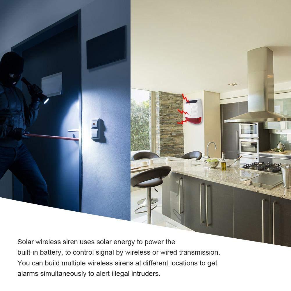 ASHATA Sirena Solar,Sirena de Alarma Inalámbrica 110dB para Exterior/Interior,Alarma de Seguridad para Hogar,Ambas Indicaciones de Voz/Flash ...