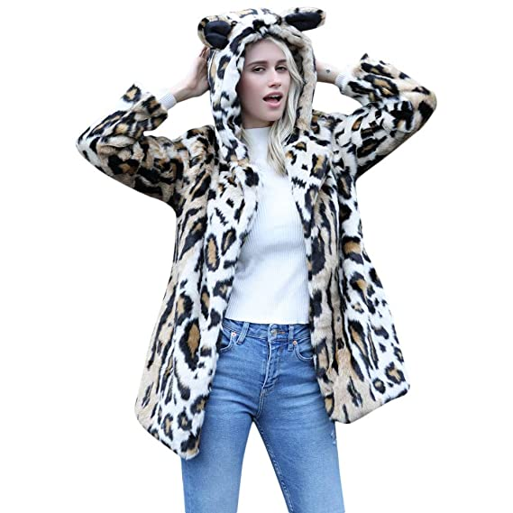 4d698bc929d Moonuy Women Cat Ear Warm Winter Coat Ladies Cardigan Leopard Print Hooded  Print Pullover Faux Fur