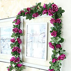 Greentime 2 Pcs Fake Flowers Vine 7.8 FT 16 Heads Silk Artificial Roses Garland Plant for Wreath Wedding Party Home Garden Wall Decoration 114