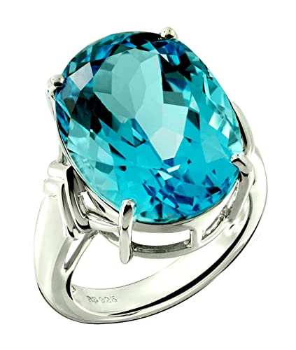 162922f5df68c RB Gems Sterling Silver 925 Statement Ring Genuine Blue Topaz 22 Carats  with Rhodium-Plated Finish