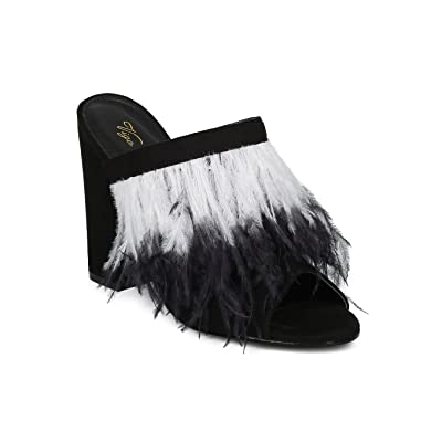 Alrisco Women Feather Block Heel Mule - Fringe Chunky Heel Slip on Mule - Peep Toe Party Dressy Fun Heel - HC51 by Vigo Fiore Collection