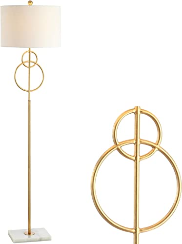 JONATHAN Y JYL1097A Haines 60″ Modern Circle Marble/Metal LED Floor Lamp Classic,Glam,Transitional