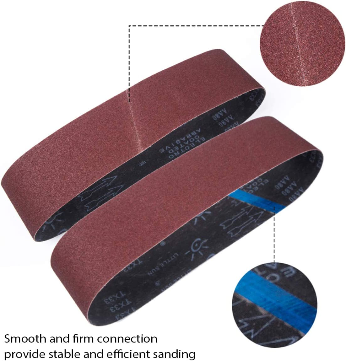 paquete de 15 75x 533 mm 75 X 533 mm 3 de 80//120//150//240//400 Granos surtidos para lijadora de banda y amoladora Bandas de lijado de /óxido de aluminio