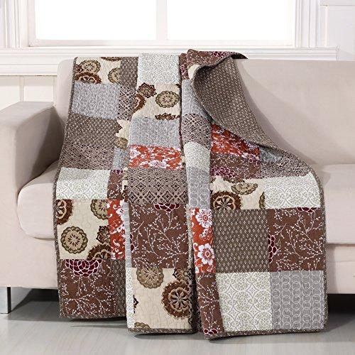 Greenland Home Stella Throw (Patchwork Brown Quilt)