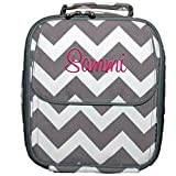 Personalized Gray Chevron Insulated Kids Adults Lunch Box